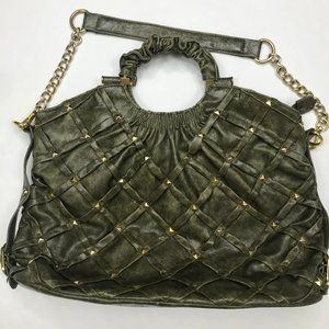 Big Buddha studded olive green handbag